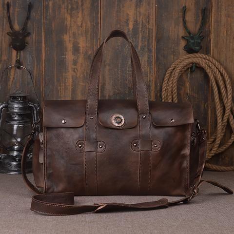 Vintage Mens Leather Travel Bag Holdall Bag 9035