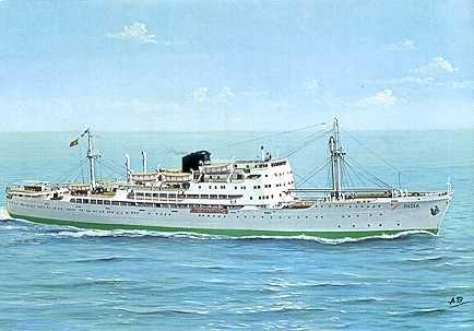 Paquete India, ao serviço entre 1951-1971, transportava  387 passageiros