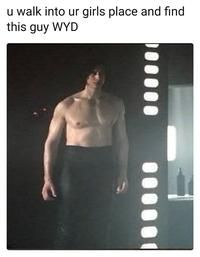 "Ben Swolo  Ben Swolo, also known as Shirtless Kylo Ren, is a photoshop meme and image macro series based on an image of the primary antagonist Kylo Ren (played by Adam Driver) from the film Star Wars: The Last Jedi standing without a shirt on. The name is derived from Kylo Ren's birthname Ben Solo, combined with the internet slang term ""swole"".  Read more at KnowYourMeme.com."