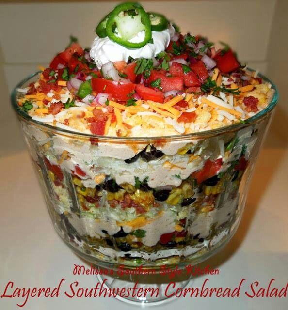 Southern cornbread layered salad | recipes | Pinterest