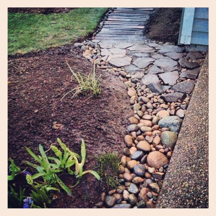 Pallet path and river rock drainage issue solved