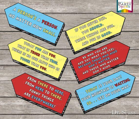 INSTANT DOWNLOAD -  Dr Seuss Quote Arrow signs - Digital Printable pdf file