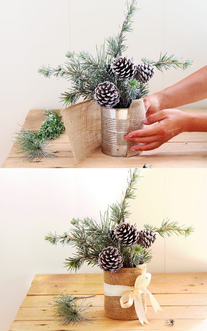Snowy Tree Winter & Christmas DIY Tischdekoration {in 20 Minuten!}
