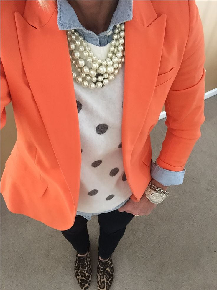 Fashion Over 40:  Feeling like Spring.....still dressing like Winter. Vince Camuto Blazer, J Crew Sweater, pearls, oxfords, Old Navy Chambray Shirt Michael Kors watch, David Yurman bracelet
