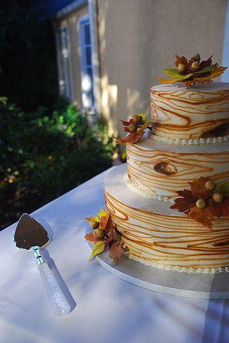 """Wood"" wedding cake"