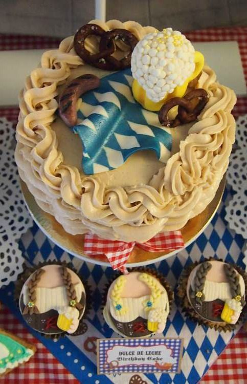 Cake And Cupcakes At An Oktoberfest Birthday Party See