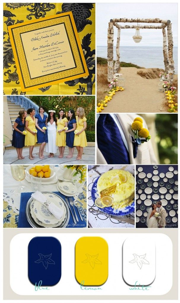 blue and yellow beach wedding