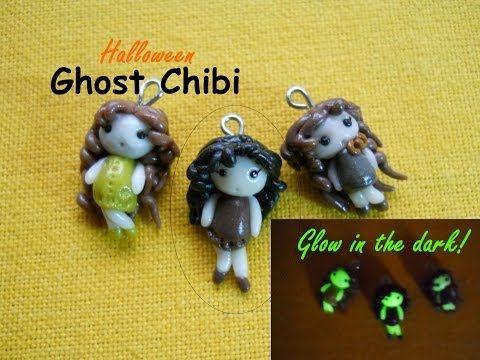 Halloween DIY: Cute Ghost Chibi ~ Chibi Fantasma ✺ Glow in the Dark! ✺ (Polymer Clay Tutorial) - YouTube