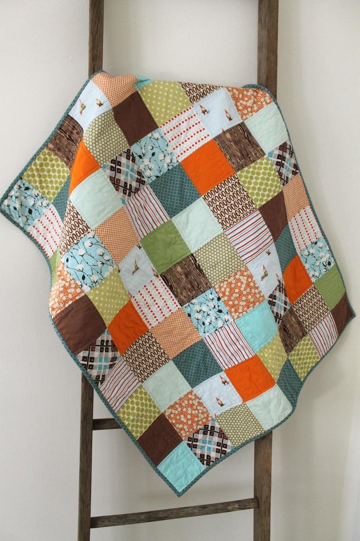 patchwork baby quilt.