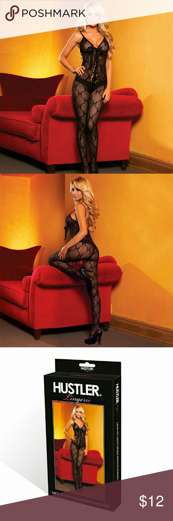 Hustler Lingeries Bow Lace Crotchless Bodystocking This sleek, sensuous bodystocking features a playful bow lace and center satin bow yo match with lace front. One size fit most  (4-10). Hustler Lingeries  Accessories Hosiery & Socks
