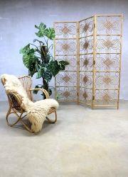 Mid century bamboo dividing screen, rotan kamerscherm