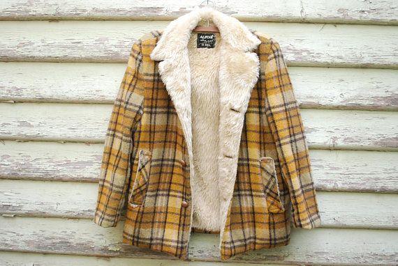 3c0cf3a26fc 70s Wool Lumberjack Plaid Sherpa Jacket Shearling Vintage
