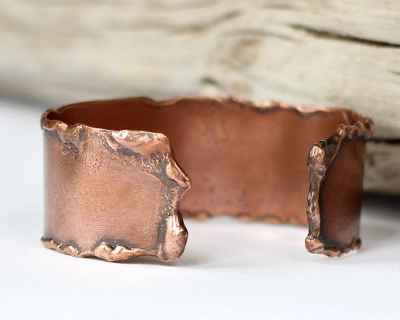 Melted Copper Cuff Smooth Molten Copper Bracelet by EagleRowe