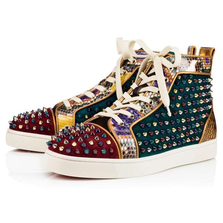CHRISTIAN LOUBOUTIN Louis Orlato Veau Velours/Python/Spikes Multicolor Python - Men Shoes ...