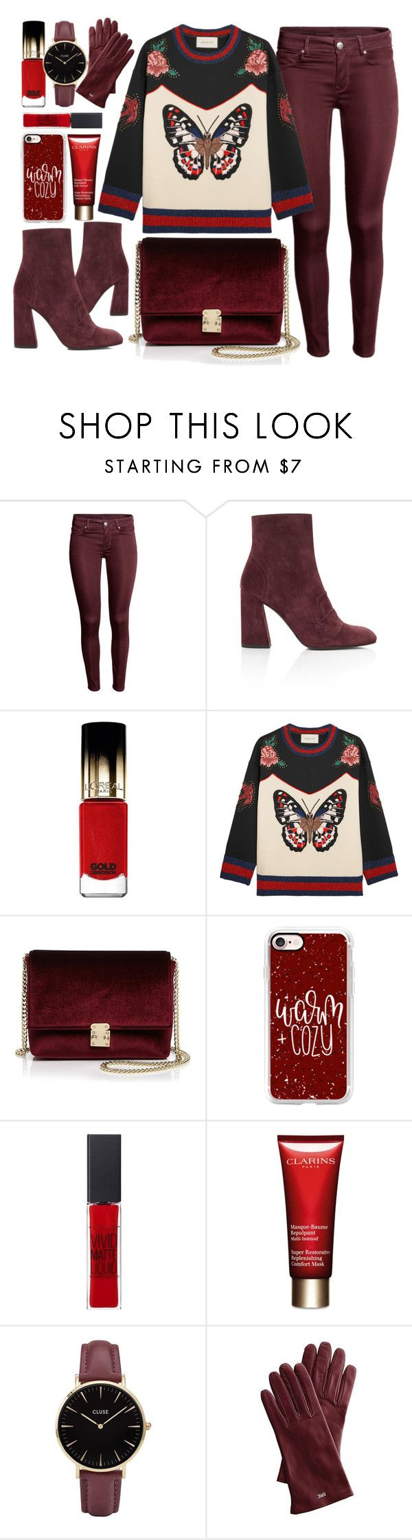 """Butterfly"" by monmondefou ❤ liked on Polyvore featuring Stuart Weitzman, L'Oréal Paris, Gucci, KC Jagger, Casetify, Maybelline, Clarins, CLUSE, Mark & Graham and red"