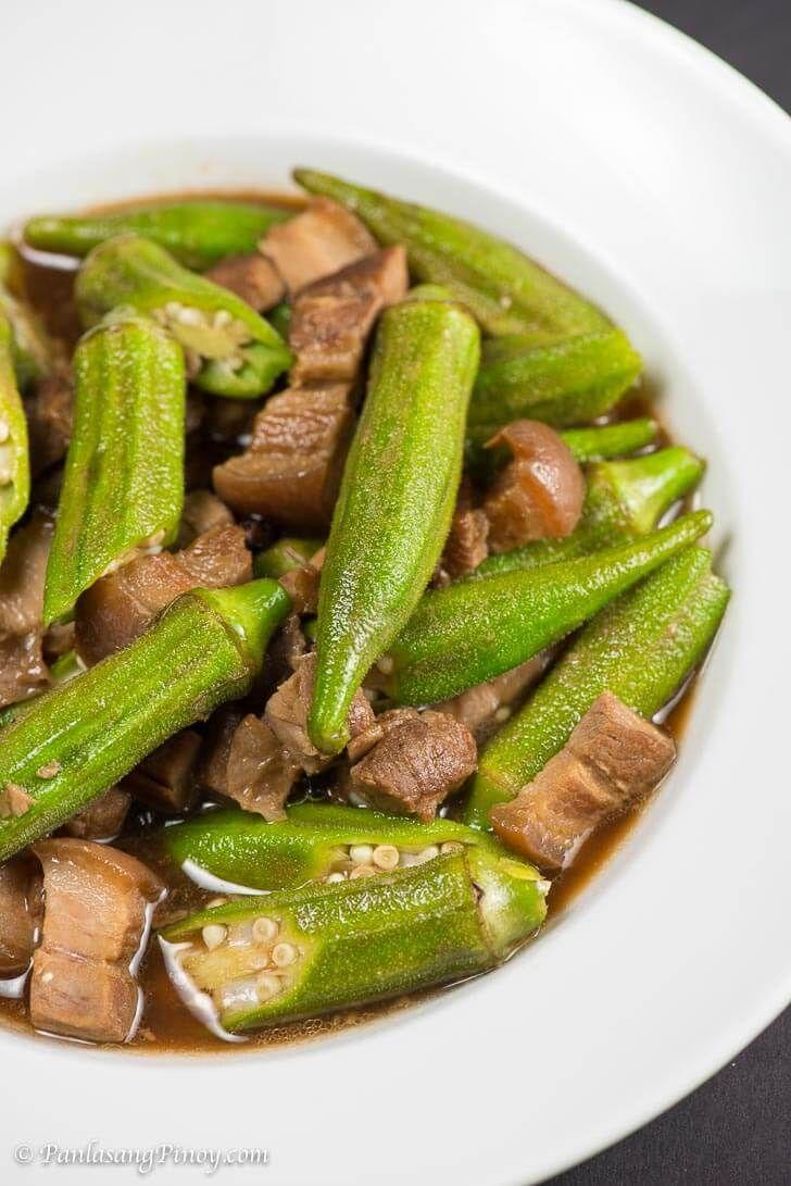 Adobong Okra with Pork Recipe - Panlasang Pinoy