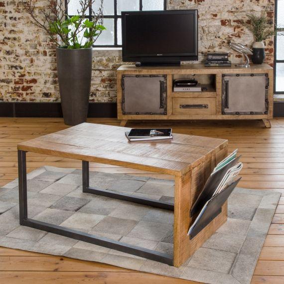 Table Basse Design Mi Bois Mi Metal Range Revues Table Basse Design Table Basse Industrielle Table Basse