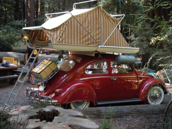 Vintage VW Bug Rooftop Camping Set Up. How sweet is THIS? (What I really like is the car!)