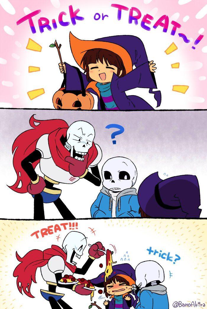 Sans, Papyrus, Frisk. Halloween