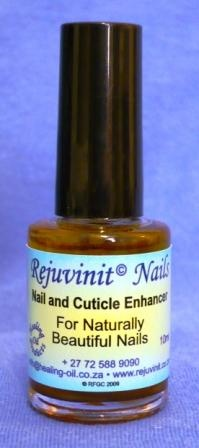 Rejuvinit© Nail and Cuticle Enhancer. Treats and prevents FUNGAL INFECTIONS of nails, frayed cuticles, weak/dry/brittle/splitting/breaking nails, ingrown toenails and thickened nails. Use with acrylic/gel nails. Results from 1st application. Buy Online www.healing-oil.co.za // www.rejuvinit.com