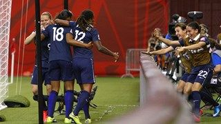 Marie-Laure Delie #18 of France celebrates her second half goal