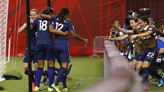 Marie-Laure Delie #18 of France celebrates her second half goal
