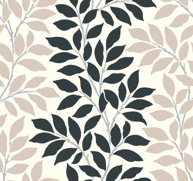 Bl0318 Leaf Branch Stripe Wallpaper Contemporary Modern