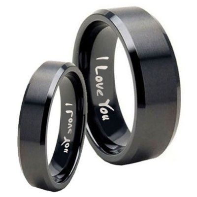 Tungsten Carbide I Love You Matte Black Flat Top Engraved Ring ( 5MM, 8MM, 10MM ) Size 4 to 15