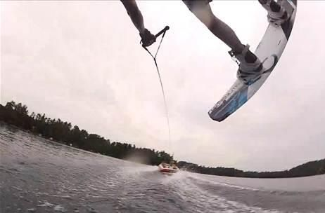 Go pro cam fun. Wakeboard flip...camera comes loose. Grabs amazing shot. Gilbert Lake, WI.