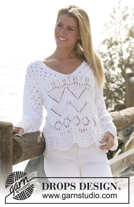 "DROPS sweater with V-neck and lace pattern in ""Paris"" ~ DROPS Design"