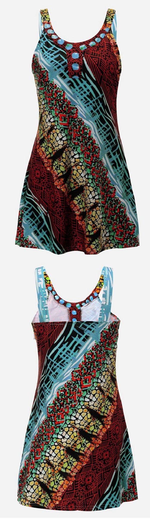 Sexy V Neck Sleeveless Strap Bohemia Printed Beach Mini Dress