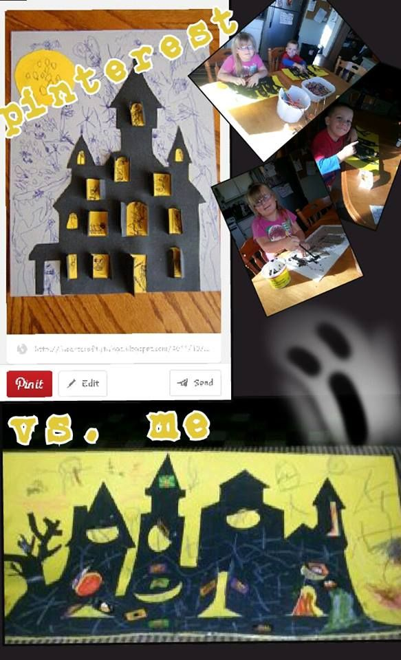 """Haunted house. I turned this into 3 smaller parts for an entire day of """"something' I cut the house from a cereal box and kids painted it black. then decorate with stickers then color! linked to sight i used as inspiration.  for more of """"my tries"""" check out http://pinterest.com/dawsonmom2/my-tries/"""