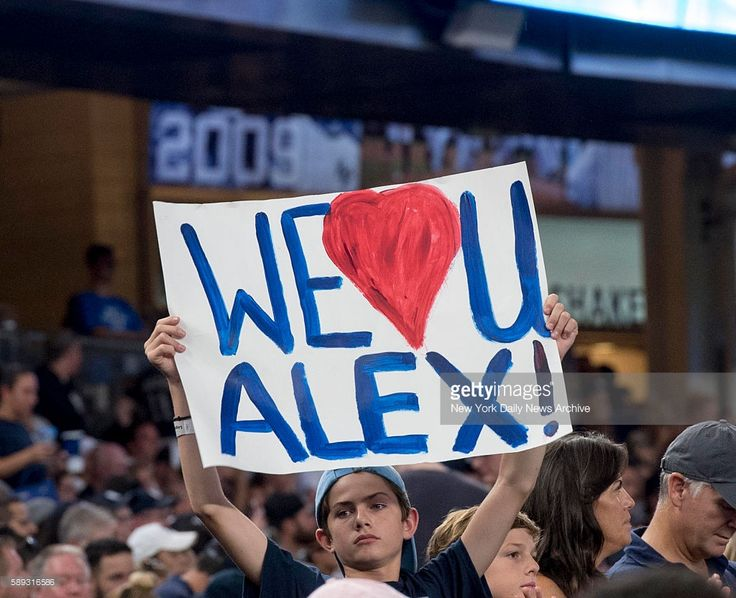 Fans in the crowd cheer for Alex Rodriguez in his final game as a New York Yankee on Friday, August 13, 2016. New York Yankees designated hitter Alex Rodriguez went 1-4 with a double and an RBI in his last game with the Yankees. The New York Yankees defeated the Tampa Bay Rays at Yankee Stadium in the Bronx, NY on August 12, 2016.
