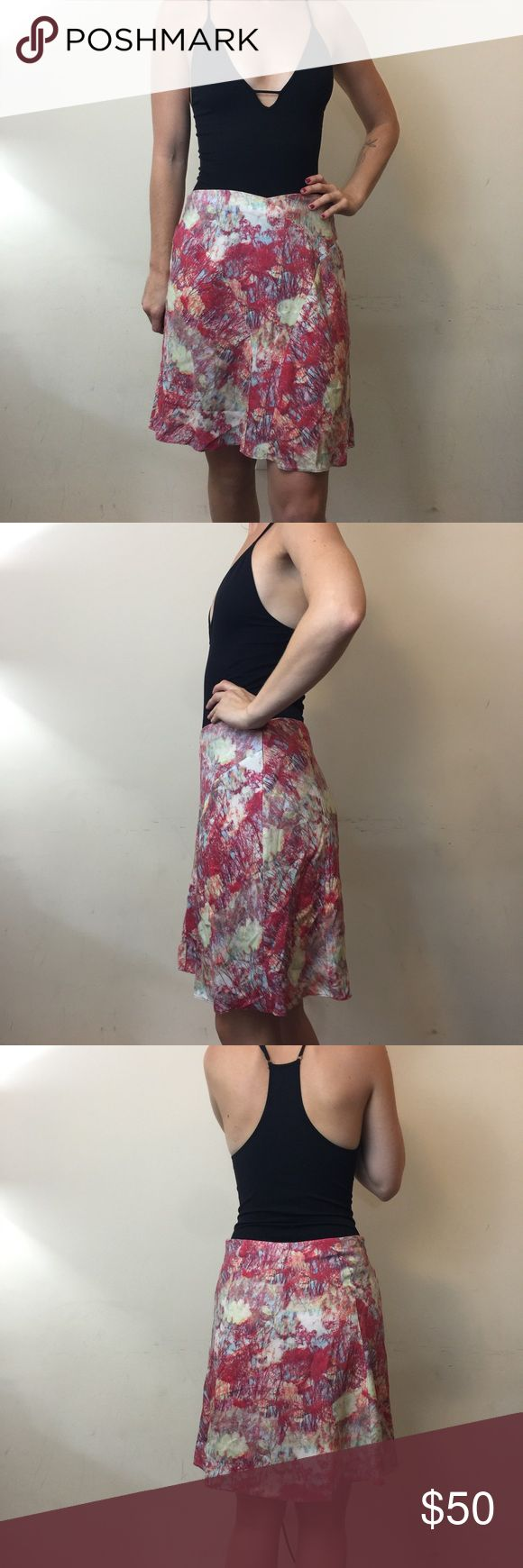 REISS Pink Abstract Printed Skater Skirt REISS Skirt ink blot like Abstract Printed skirt with a liner and is Skater style. Very cute and has a zipper closure. Size 6. No flaws. Reiss Skirts