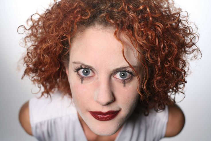 #clown #curly #face #head #make up #make up #makeup #red hair #reddish #spooked #woman