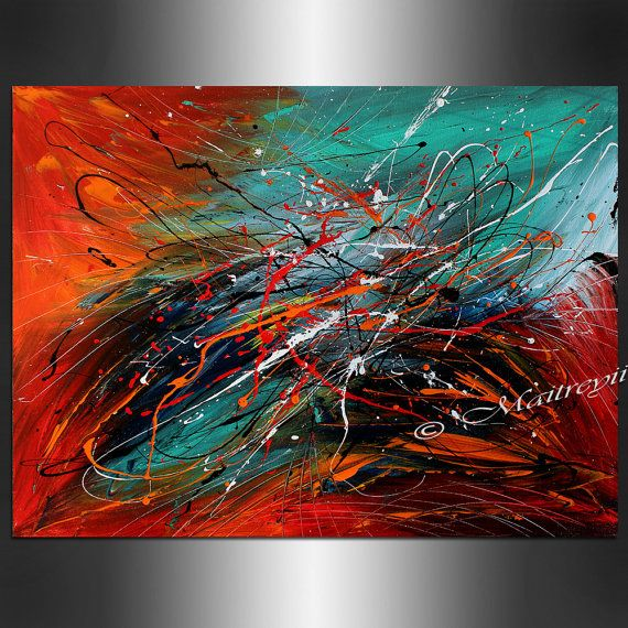 ABSTRACT Art LARGE ARTWORK Red Teal Turquoise Contemporary Abstract Painting