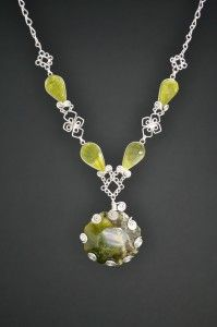 Rumi Sumaq Silver Necklace with Serpentine Stones by designer Coco Paniora Salinas http://rumisumaq.com/