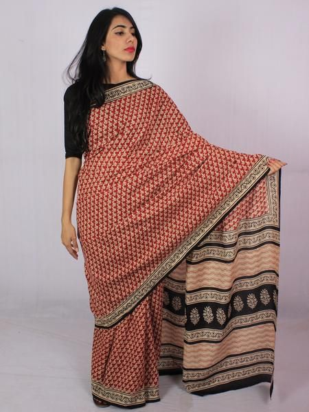 Red Beige Black Cotton Hand Block Printed Saree in Natural Colors - S031701174