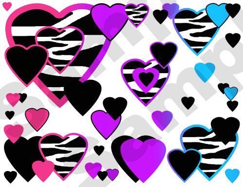 Rainbow Zebra Hearts Wall Border Decals Teen Girls Room