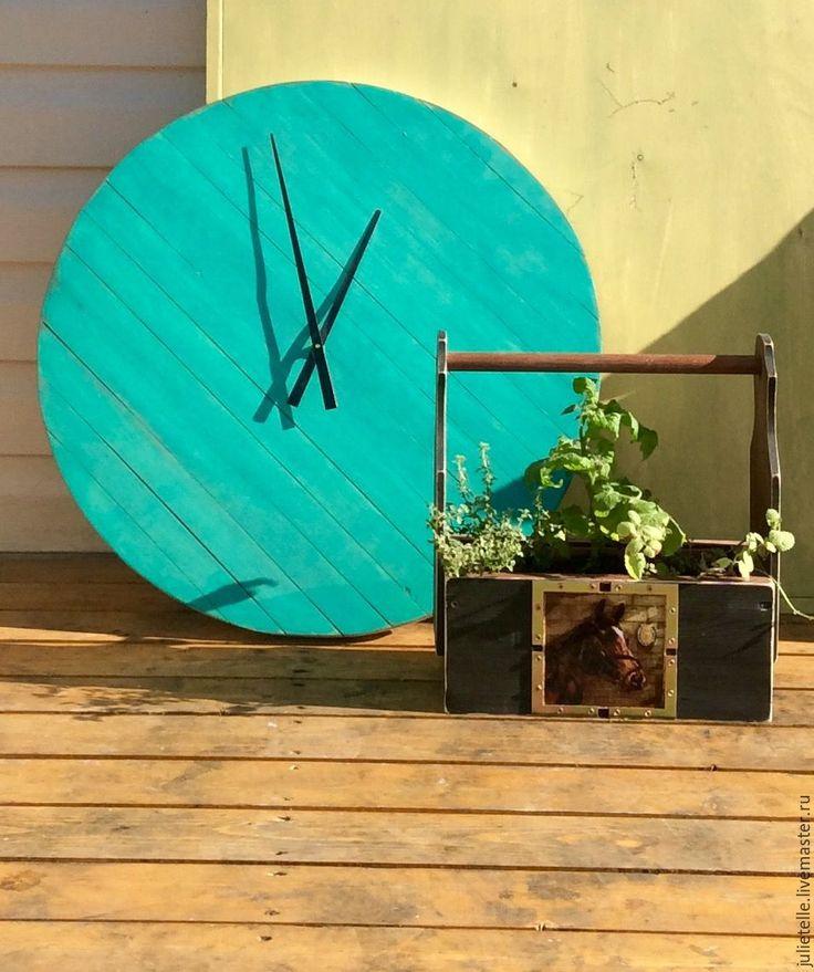 Купить Бирюзовые часы - бирюзовый, часы, настенные часы, декор стен, Декор, дизайн, веранда