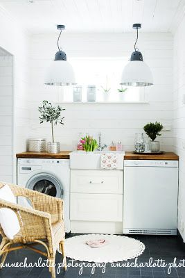 Great use of a small space. Turning this little area into a utility room. Love the white painted brick and the great utility lights