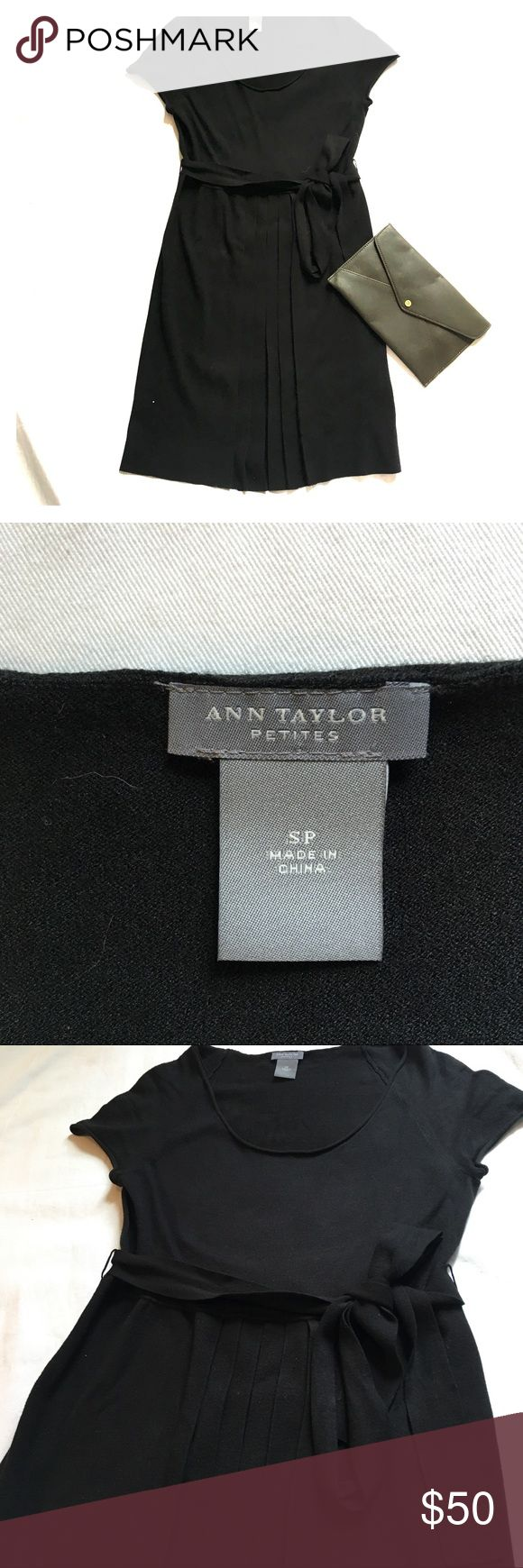 Ann Taylor Cap Sleeve Sweater Dress Ann Taylor black Cap Sleeve Sweater Dress. Pleated in the front with a sash to tie around your waist.  Size small petite. Great dress for work or a night out. Message me for more details! Ann Taylor Dresses Mini