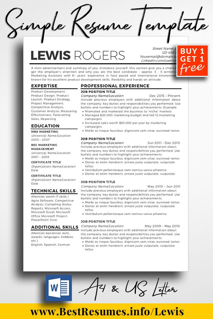 Resume Template Lewis Rogers | Resume Templates Inspiration and ...
