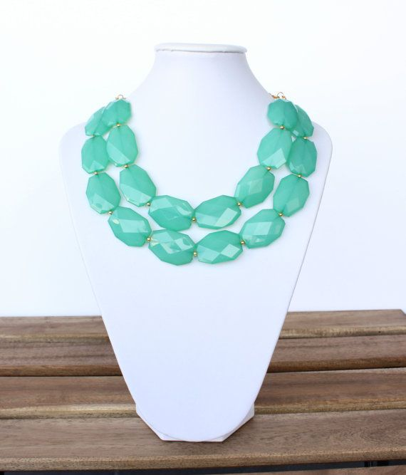 Emerald Green Statement Necklace Green by GraciaJewellery on Etsy