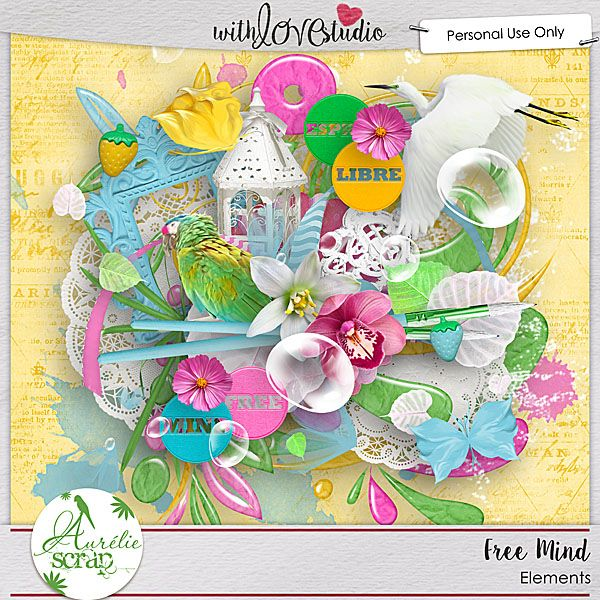"""Kit """"Free Mind"""" by Aurélie Scrap. I need some shiny colors to bring to you a precious & warm feeling : Freedom. 22 papers & 75 elements"""