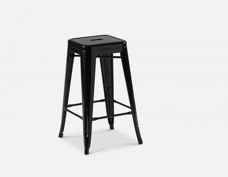 HUDSON - Iron counter stool 26'' - Black