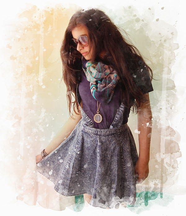 Denim Skirt + T-Shirt+ Scarf + Magnifier Necklace (All items are from Rimo Los Angeles) #losangeles #fashion #boutique #summer #scarf #necklace #magnifier #tshirts #skirt #sunglasses #westla #watercolor #shopping #rimo