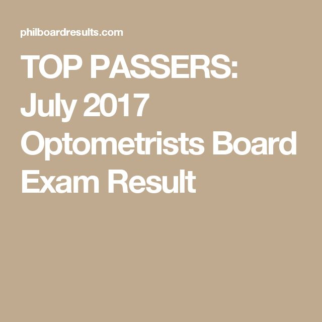 TOP PASSERS July 2017 Optometrists Board Exam Result