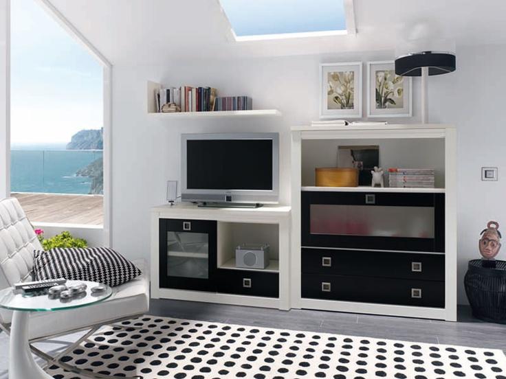 uac mueble para el saln crea apilable blanco negro