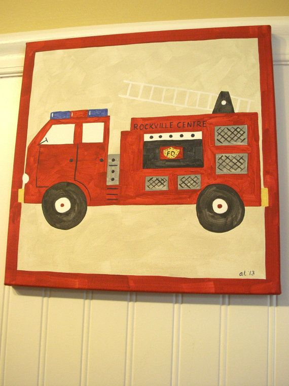 12 x 12 red fire truck original painting boy room decor baby